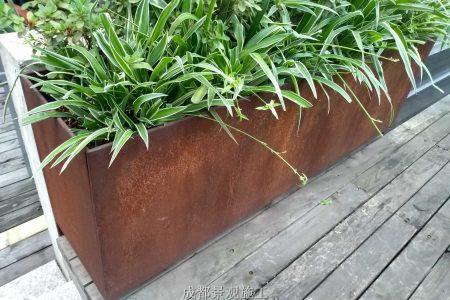 四川成都景观小品 耐候钢板花箱景墙树池