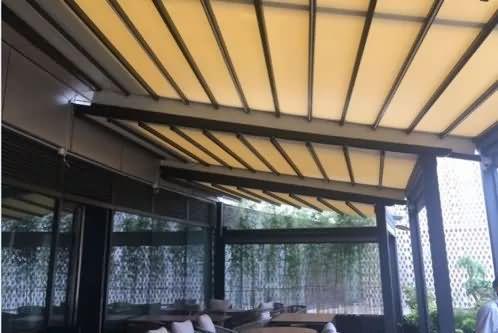 室外电动轨道天幕,高档伸缩遮阳篷