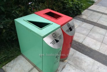 户外景观艺术范分类垃圾箱,室外高品质垃圾筒首选(红色和青色)