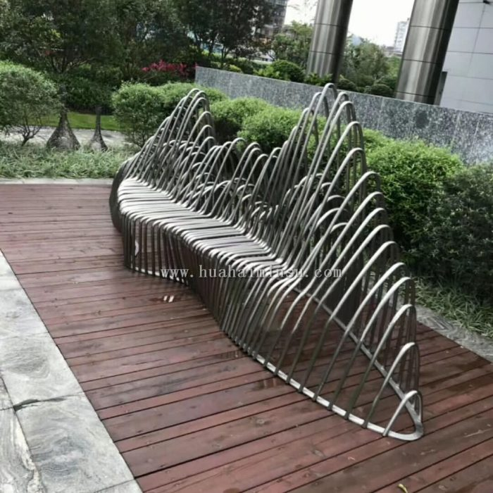 户外不锈钢创意景观坐凳,售楼部特色金属座椅厂家定制